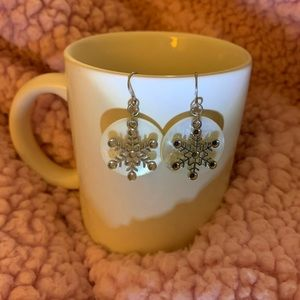 White & Silver Snowflake Earrings
